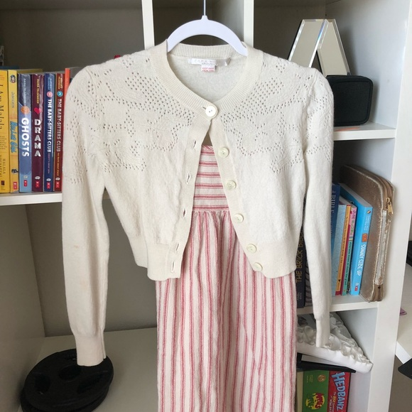 54aab630c3 Beige cardigan Cute with Stripe Dress Full Outfit